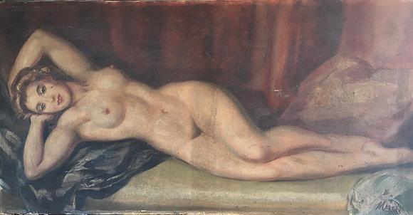 Huile sur toile Nu Féminin signé Marcki 80x40