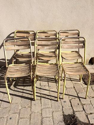 Lot de 6 chaises métal et bois