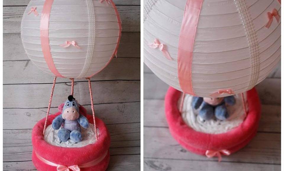 Gâteau de couches montgolfière Fille