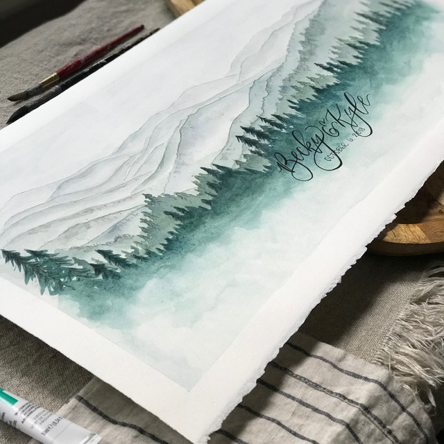 Watercolor Smoky Mountain Painting