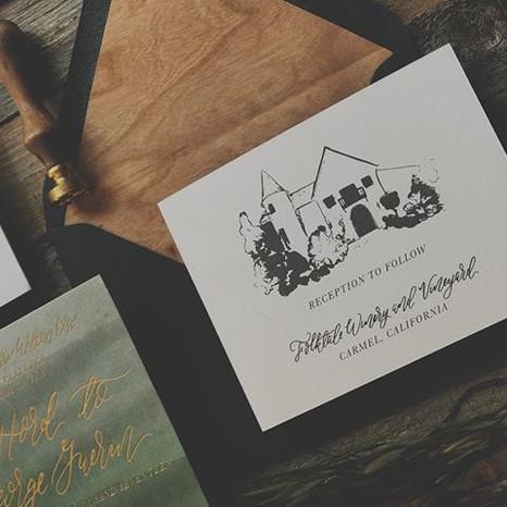 Watercolor and Gold Foil Invite