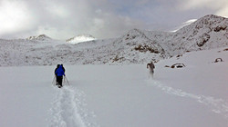 Snowy lake walk