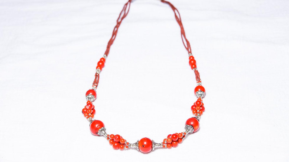 Fire Dragon Afghanistan Red Coral Necklace