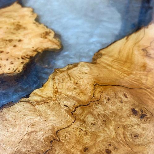 Irish Burl Elm Coffee Table with Pearl effect resin & Walnut Legs