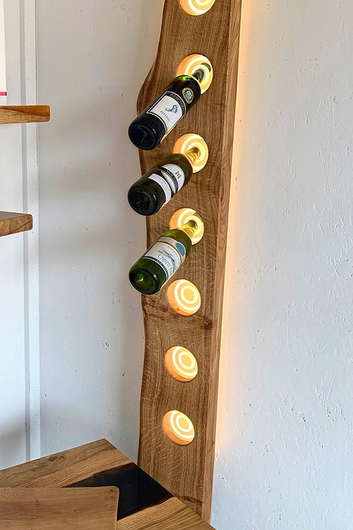 Live Edge Pippy Oak Wine Rack