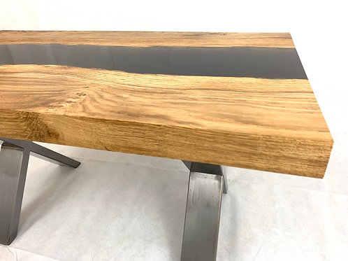 Irish Pippy Oak Coffee Table with Opaque Resin River on Steel 'X' Legs