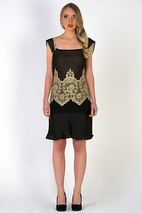 1920s Style Lace on Chiffon Top & Shimmer Skirt