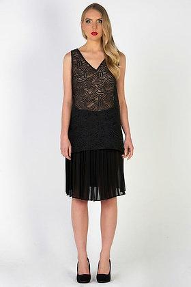 Art Deco Top & Pleated Chiffon Skirt