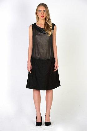 Dropped Waist Sheer Silver & Black Dress