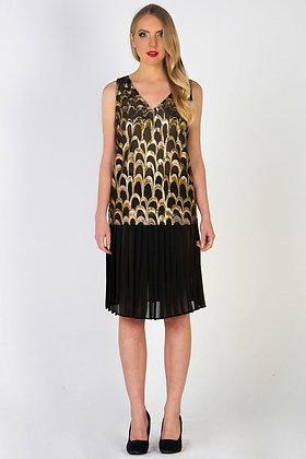 Gold Lamé Top & Pleated Chiffon Skirt