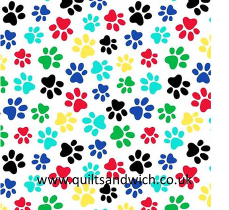 Paw Prints white multi - White 108inches  wide