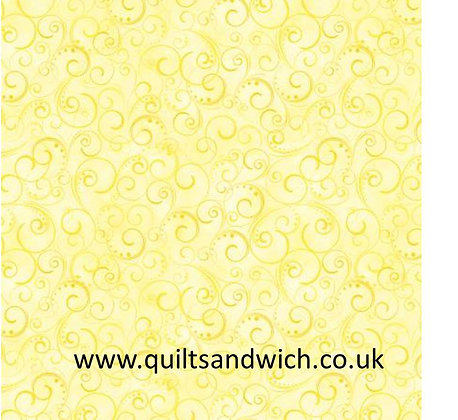 Benartex Light Yellow Swirling Splendor 108 inches  per qtr mtr