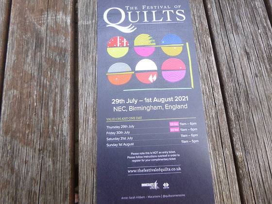 FREE ticket for Festival of Quilts - spend over £30....