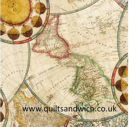 Vintage map 108inches wide  per qtr metre