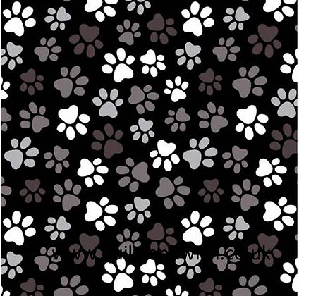 Paw Prints Black -  108inches  wide