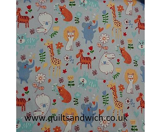 Zoo Pals Grey 164cm wide  qtr metre