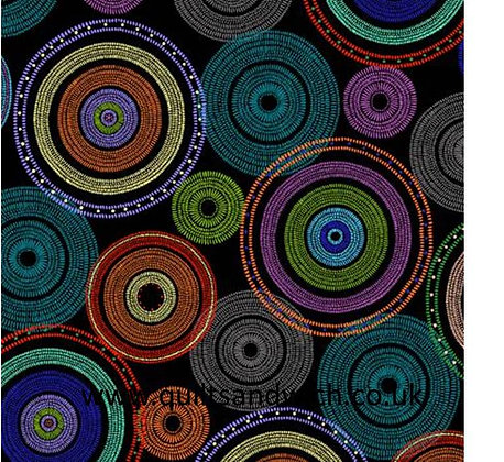 Circles - Black  108inches  wide