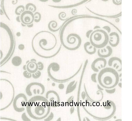 White/White Scroll Tone on Tone  per qtr metre