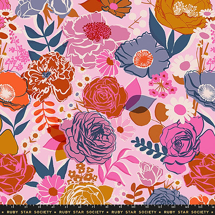 Rise PEONY Ruby Star Shell 108 inches wide per qtr metre