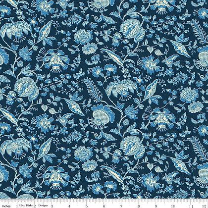 Liberty Summerhouse Blue Victoria Floral  per quarter metre