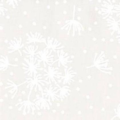 White on White Dandelions 43inches - per qtr m