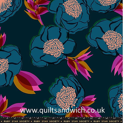 Rise TEAL Ruby Star Shell 108 inches wide per qtr metre