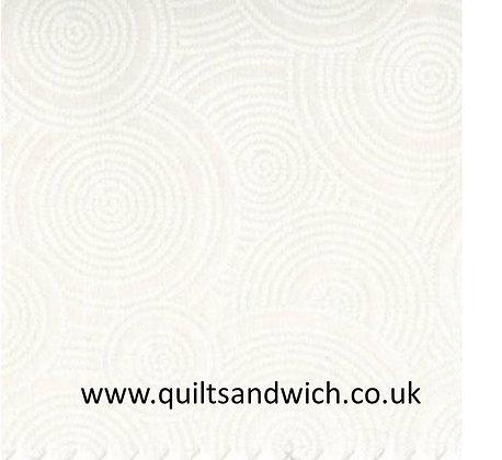 White/White Dotted Circles Tone on Tone   per qtr metre