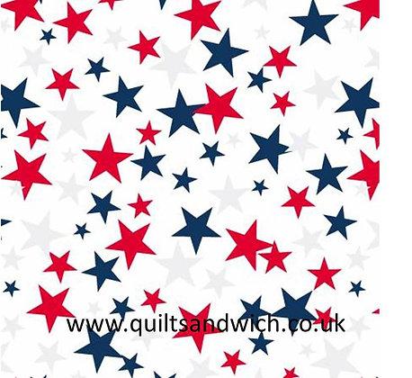 Patriotic Stars - White -  108inches  wide