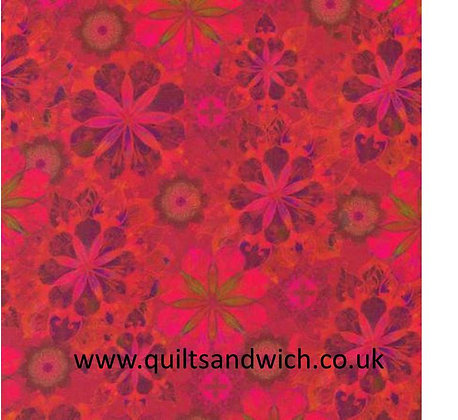 Flowers Red Cotton Sateen 108inches wide  per qtr metre