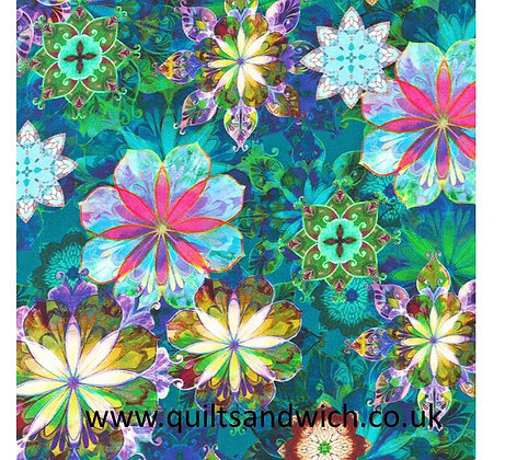 Flowers Teal Cotton Sateen 108inches wide  per qtr metre