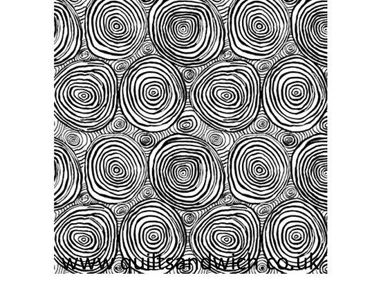 Kaffe Fassett Onion Rings Black108 wide per qtr Metre