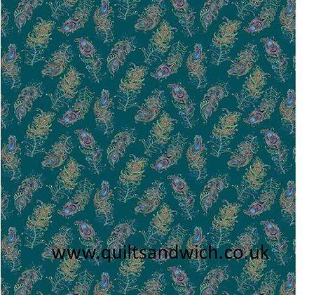 Feathers Teal- 108inches  wide