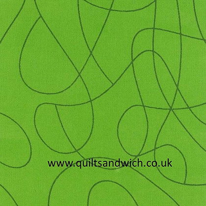 Squiggle Green 108inches  wide per qtr metre