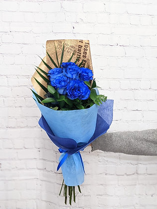 6 roses bleues