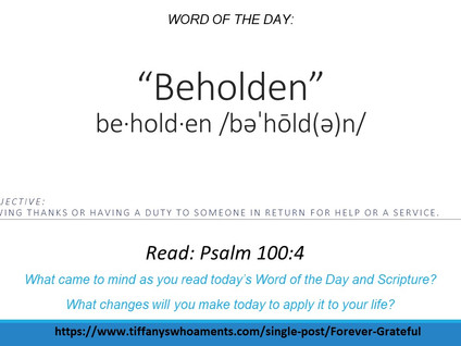 Word of the Day: Beholden