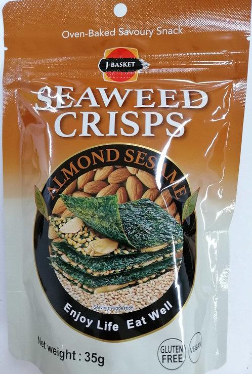 JB Seaweed Crisps A&S 35g Seaweed Snack Almond & Sesame
