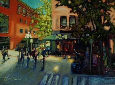 Starbucks In Gastown by R. Kossowan, oil on canvas