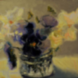 Kossowan, R. Pansies In A Glass Jar, oil