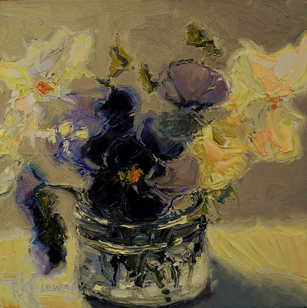 Kossowan, R. Pansies In A Glass Jar, oil