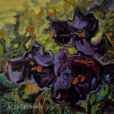 Kossowan, R. Three Pansies, oil on deep