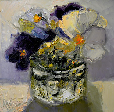 Kossowan, R. Jarred Pansies, oil on deep