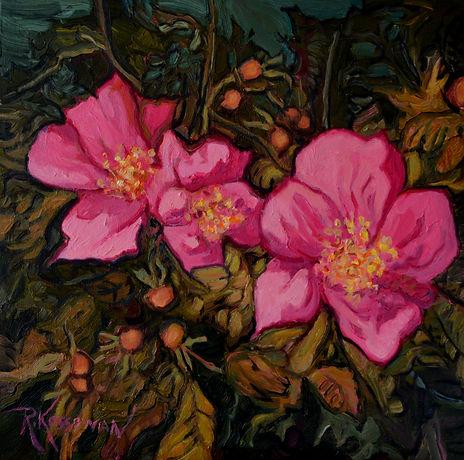 Kossowan, R. Wild Rose Bush, 12x12, oil