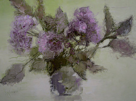 Kossowan, R. Hydrangeas In A Vase, oil o