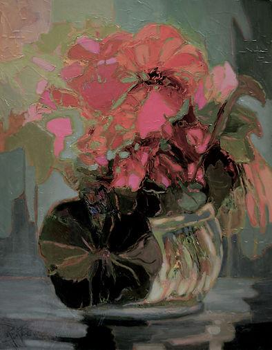 Kossowan, R Bowl Of Scarlet Flowers, oil
