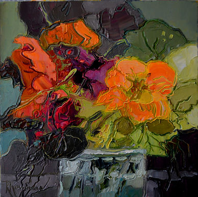 Kossowan, R. Nasturtiums 101. oil on dee