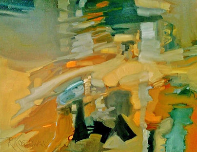 Original abstract oil painting by Canadian Artist Rose-Marie Kossowan