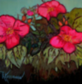Kossowan, R. Wild Roses, oil on deep can