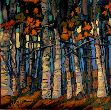 Kossowan, R, Stand Of Birch, oil on deep