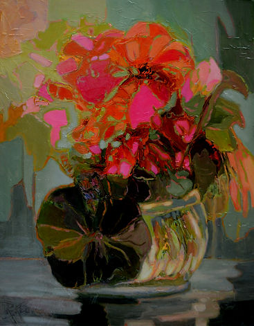 Kossowan, R Bowl Of Scarlet Flowers, oil