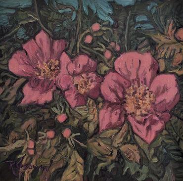 Kossowan, R. Wild Rose Bush, 12x12.JPG
